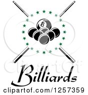Clipart Of Billiards Balls In A Circle Of Green Stars Over Crossed Cue Sticks And Text Royalty Free Vector Illustration