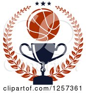 Clipart Of A Basketball Laurel Wreath With Stars And A Trophy Royalty Free Vector Illustration