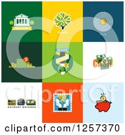 Clipart Of Banking And Finance Icons On Colorful Tiles Royalty Free Vector Illustration