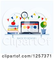 Clipart Of A Shelf With Back To School Text Books A Laptop And Plant Royalty Free Vector Illustration