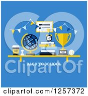 Clipart Of A Shelf With Back To School Text Books A Coffee Globe And Trophy Royalty Free Vector Illustration by elena