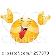 Clipart Of A Smiley Emoticon Sticking His Tongue Out And Gesturing Rock On Royalty Free Vector Illustration