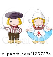Clipart Of A Cute Dutch Couple Presenting And Curtsying Royalty Free Vector Illustration by yayayoyo