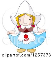 Clipart Of A Cute Dutch Girl Curtsying Royalty Free Vector Illustration by yayayoyo