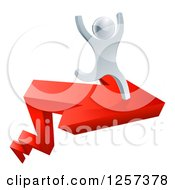 Clipart Of A 3d Successful Silver Man Cheering And Running On A Red Arrow Royalty Free Vector Illustration