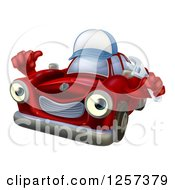 Clipart Of A Red Car Character Mechanic Wearing A Hat Holding A Wrench And Thumb Up Royalty Free Vector Illustration by AtStockIllustration
