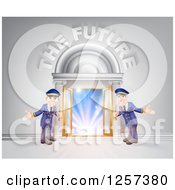 Clipart Of A Venue Entrance With Welcoming Friendly Doormen And The Future Text Royalty Free Vector Illustration