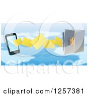 Clipart Of A 3d Secure Cell Phone Transfering Backup Files To A Safe Over A Map Royalty Free Vector Illustration by AtStockIllustration