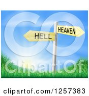 Clipart Of 3d Heaven Or Hell Arrow Signs Over Grassy Hills And A Sunrise Royalty Free Vector Illustration