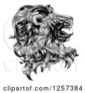 Clipart Of A Black And White Vintage Engraved Profiled Heraldic Lion Head Royalty Free Vector Illustration by AtStockIllustration