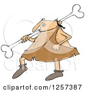 Clipart Of A Hairy Caveman Walking And Carrying A Large Bone Over His Shoulder Royalty Free Vector Illustration
