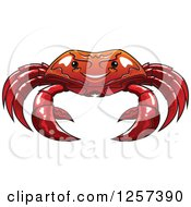 Clipart Of A Red Crab Royalty Free Vector Illustration
