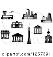 Clipart Of A Black And White Airport Factory Power Plant Hospital Bank Shop Temple Tv Tower And Church Royalty Free Vector Illustration