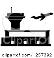 Clipart Of A Black And White Plane And Airport Royalty Free Vector Illustration by Seamartini Graphics