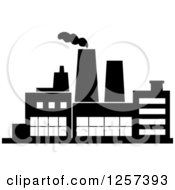 Clipart Of A Black And White Factory Royalty Free Vector Illustration by Seamartini Graphics