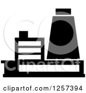 Clipart Of A Black And White Nuclear Power Plant Royalty Free Vector Illustration