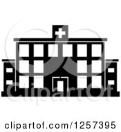 Clipart Of A Black And White Hospital Building Royalty Free Vector Illustration by Seamartini Graphics