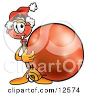 Sink Plunger Mascot Cartoon Character Wearing A Santa Hat Standing With A Christmas Bauble