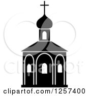 Clipart Of A Black And White Church Royalty Free Vector Illustration by Seamartini Graphics