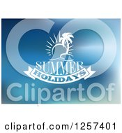 Clipart Of A White Sun And Island With Summer Holidays Text Over Blue Royalty Free Vector Illustration by Vector Tradition SM