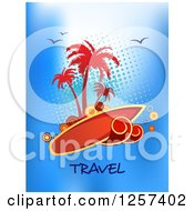 Clipart Of A Surf Board Island Over Halftone Birds And Travel Text Royalty Free Vector Illustration by Vector Tradition SM
