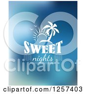 Clipart Of A White Sun And Island Over Sweet Nights Text Royalty Free Vector Illustration by Seamartini Graphics
