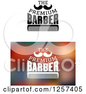 Clipart Of The Premium Barber Text With A Mustache And Comb Royalty Free Vector Illustration