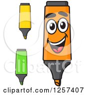 Clipart Of Yellow Green And Orange Highlighter Markers Royalty Free Vector Illustration by Seamartini Graphics