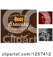 Clipart Of Premium Quality Beer Brewery Labels Royalty Free Vector Illustration
