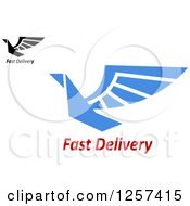 Clipart Of Birds And Fast Delivery Text Royalty Free Vector Illustration