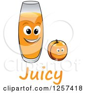 Clipart Of A Happy Glass Of Juice And Apricot Royalty Free Vector Illustration