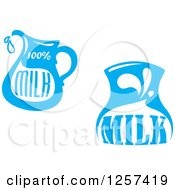 Clipart Of Blue Milk Pitcher Designs Royalty Free Vector Illustration by Seamartini Graphics