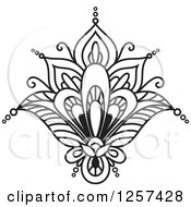 Clipart Of A Black And White Henna Lotus Flower Royalty Free Vector Illustration