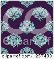 Clipart Of A Seamless Pattern Background Of Turquoise Floral Damask On Purple Royalty Free Vector Illustration