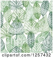 Clipart Of A Seamless Background Pattern Of Green Skeleton Leaves Royalty Free Vector Illustration by Seamartini Graphics