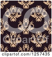 Clipart Of A Seamless Pattern Background Of Tan Floral Damask On Brown Royalty Free Vector Illustration