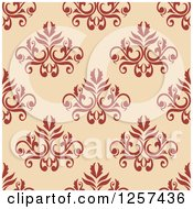 Clipart Of A Seamless Pattern Background Of Floral Damask Royalty Free Vector Illustration