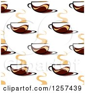 Clipart Of A Seamless Pattern Background Of Steamy Coffee Cups Royalty Free Vector Illustration by Seamartini Graphics