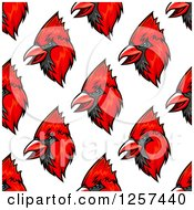 Clipart Of A Seamless Pattern Background Of Red Cardinal Birds Royalty Free Vector Illustration by Vector Tradition SM