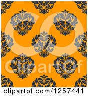 Clipart Of A Seamless Pattern Background Of Floral Damask Royalty Free Vector Illustration by Seamartini Graphics