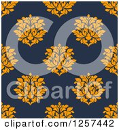Clipart Of A Seamless Pattern Background Of Orange Floral Damask On Blue Royalty Free Vector Illustration