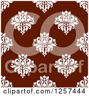 Clipart Of A Seamless Pattern Background Of White Floral Damask On Maroon Royalty Free Vector Illustration