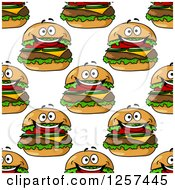 Clipart Of A Seamless Pattern Background Of Happy Cheeseburgers Royalty Free Vector Illustration by Seamartini Graphics
