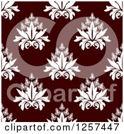 Clipart Of A Seamless Pattern Background Of White Floral Damask On Brown Royalty Free Vector Illustration by Seamartini Graphics