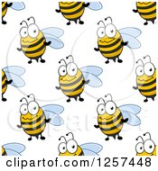 Clipart Of A Seamless Pattern Background Of Cute Bees Royalty Free Vector Illustration by Seamartini Graphics