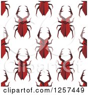 Clipart Of A Seamless Pattern Background Of Red Beetles Royalty Free Vector Illustration by Vector Tradition SM