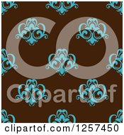 Clipart Of A Seamless Pattern Background Of Blue Floral On Brown Royalty Free Vector Illustration by Seamartini Graphics