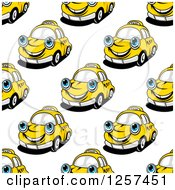 Clipart Of A Seamless Pattern Background Of Happy Taxi Cabs Royalty Free Vector Illustration