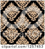 Clipart Of A Seamless Pattern Background Of Tan Diamond Floral Damask On Black Royalty Free Vector Illustration