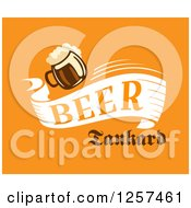 Clipart Of A Beer Banner On Orange Royalty Free Vector Illustration by Seamartini Graphics